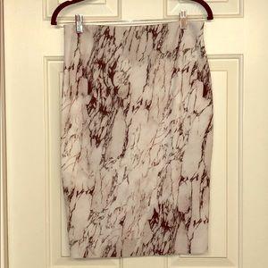 Zara Stretch Marble Print Midi Skirt in Size L